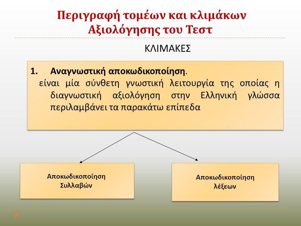 Περιγραφή τομέων και κλιμάκων Αξιολόγησης του Τεστ ΚΛΙΜΑΚΕΣ 1.Αναγνωστική αποκωδικοποίηση. είναι μία σύνθετη γνωστική λειτουργία της οποίας η διαγνωστ