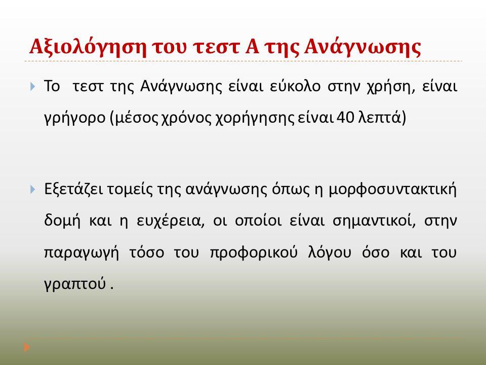 Αξιολόγηση του τεστ Α της Ανάγνωσης  Το τεστ της Ανάγνωσης είναι εύκολο στην χρήση, είναι γρήγορο ( μέσος χρόνος χορήγησης είναι 40 λεπτά )  Εξετάζε