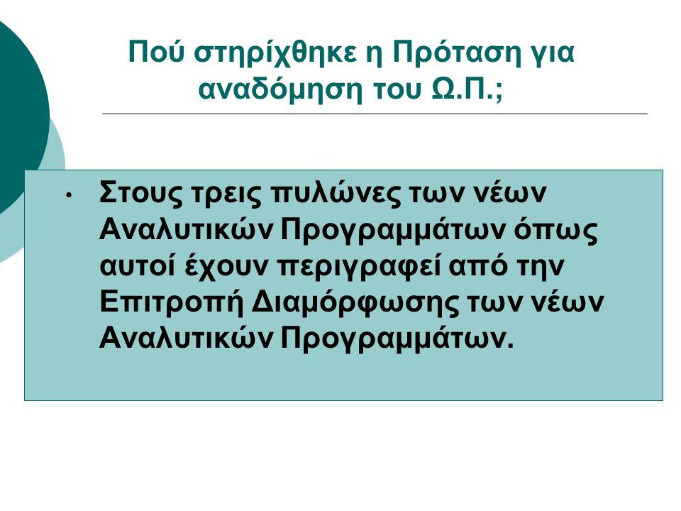 • Στους τρεις πυλώνες των νέων Αναλυτικών Προγραμμάτων όπως αυτοί έχουν περιγραφεί από την Επιτροπή Διαμόρφωσης των νέων Αναλυτικών Προγραμμάτων.