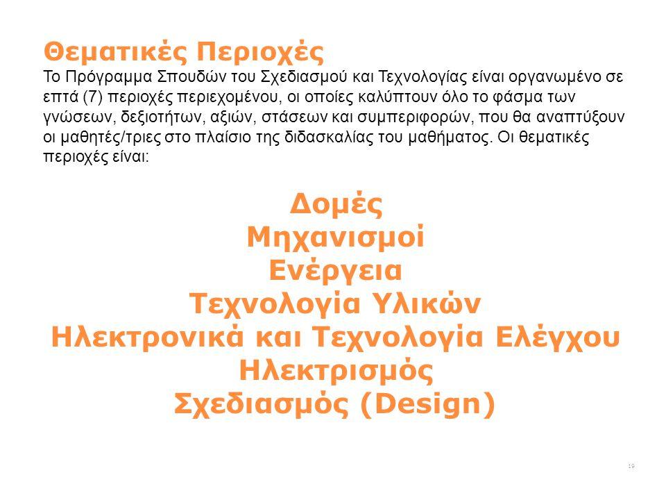 Θεματικές Περιοχές Το Πρόγραμμα Σπουδών του Σχεδιασμού και Τεχνολογίας είναι οργανωμένο σε επτά (7) περιοχές περιεχομένου, οι οποίες καλύπτουν όλο το