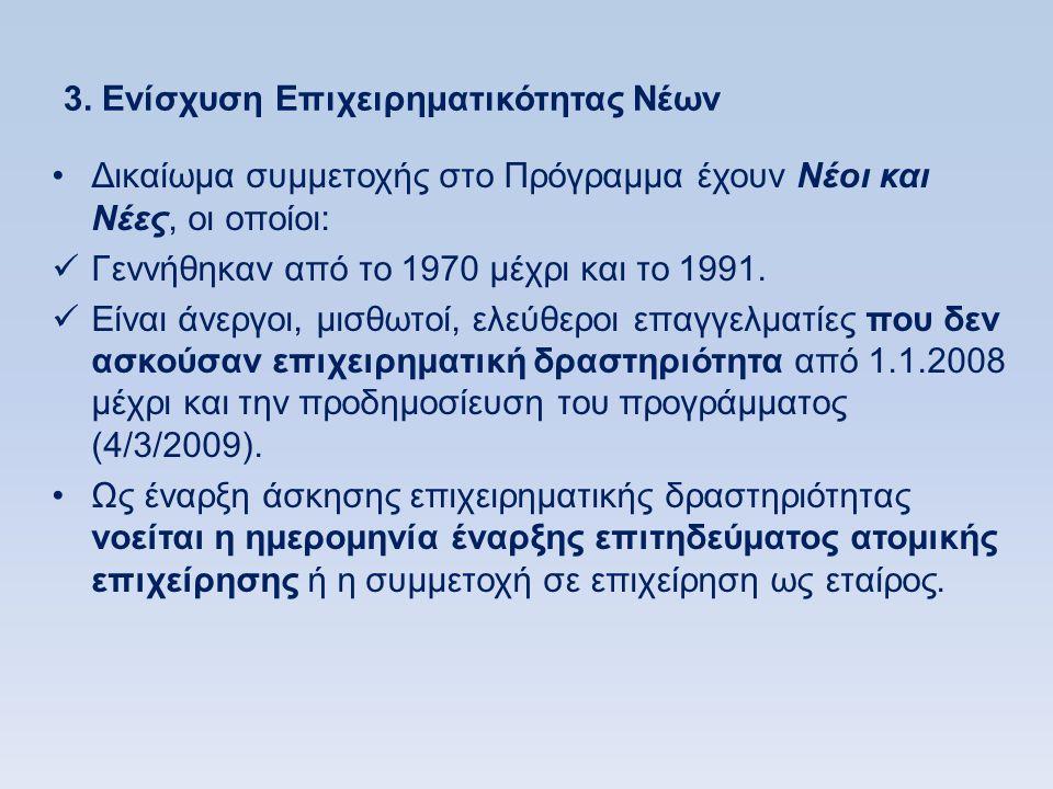 3. Ενίσχυση Επιχειρηματικότητας Νέων •Δικαίωμα συμμετοχής στο Πρόγραμμα έχουν Νέοι και Νέες, οι οποίοι:  Γεννήθηκαν από το 1970 μέχρι και το 1991. 