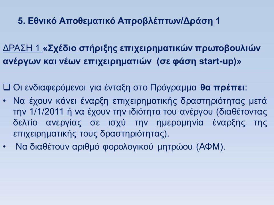 5. Εθνικό Αποθεματικό Απροβλέπτων/Δράση 1 ΔΡΑΣΗ 1 «Σχέδιο στήριξης επιχειρηματικών πρωτοβουλιών ανέργων και νέων επιχειρηματιών (σε φάση start-up)» 