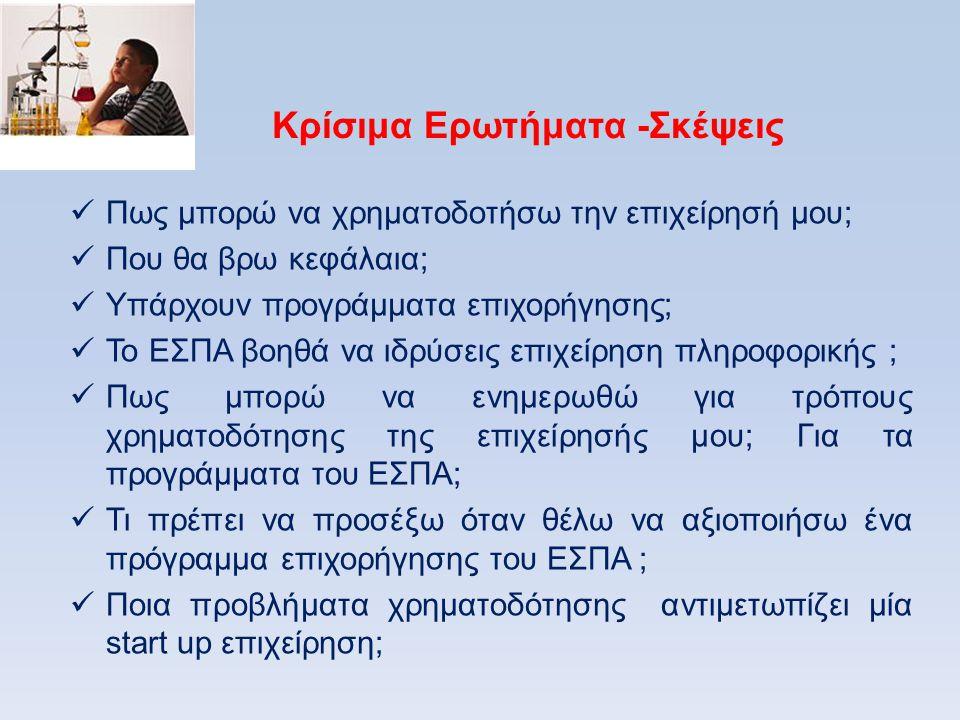 Παρουσίαση προγραμμάτων & χρηματοδοτικών εργαλείων-Κύρια σημεία ( Πηγές www.espa.gr/www.e-kepa.gr/ www.ypoian.gr/ www.digitalplan.gr) 1.