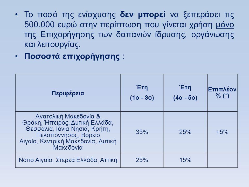 •Το ποσό της ενίσχυσης δεν μπορεί να ξεπεράσει τις 500.000 ευρώ στην περίπτωση που γίνεται χρήση μόνο της Επιχορήγησης των δαπανών ίδρυσης, οργάνωσης