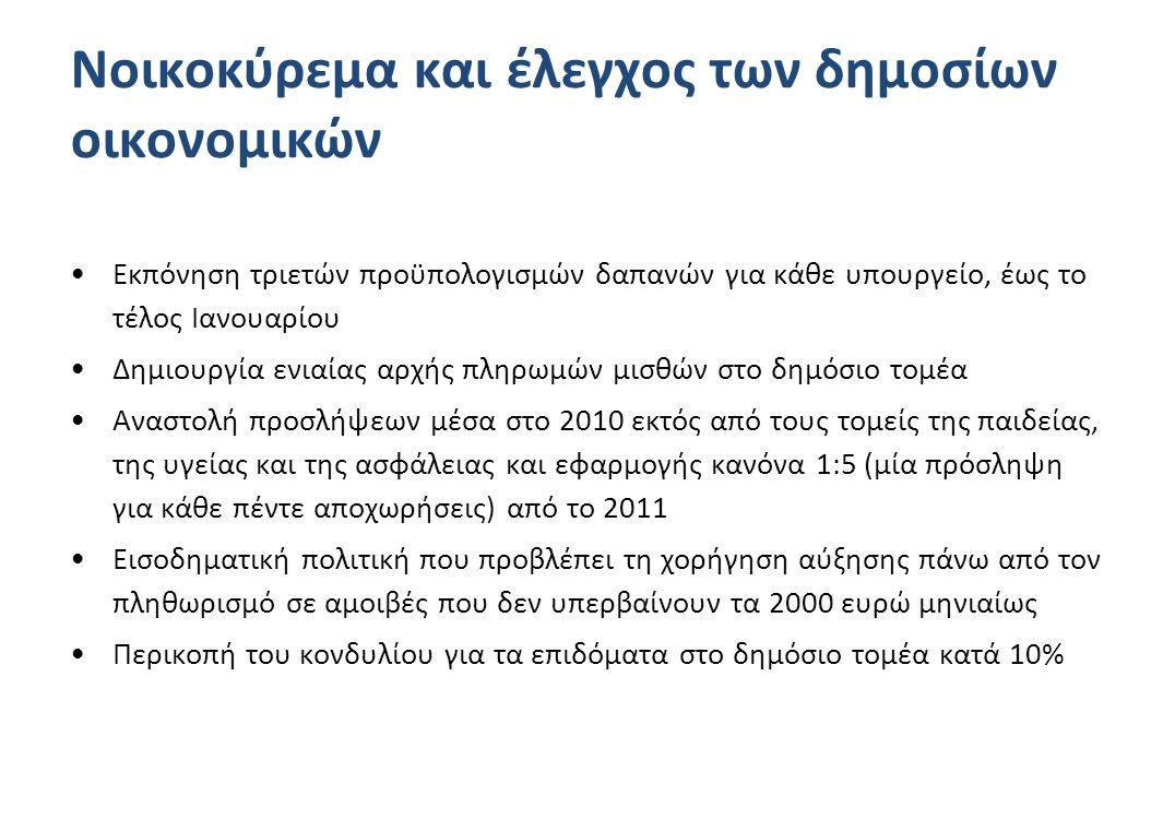 Νοικοκύρεμα και έλεγχος των δημοσίων οικονομικών •Εκπόνηση τριετών προϋπολογισμών δαπανών για κάθε υπουργείο, έως το τέλος Ιανουαρίου •Δημιουργία ενιαίας αρχής πληρωμών μισθών στο δημόσιο τομέα •Αναστολή προσλήψεων μέσα στο 2010 εκτός από τους τομείς της παιδείας, της υγείας και της ασφάλειας και εφαρμογής κανόνα 1:5 (μία πρόσληψη για κάθε πέντε αποχωρήσεις) από το 2011 •Εισοδηματική πολιτική που προβλέπει τη χορήγηση αύξησης πάνω από τον πληθωρισμό σε αμοιβές που δεν υπερβαίνουν τα 2000 ευρώ μηνιαίως •Περικοπή του κονδυλίου για τα επιδόματα στο δημόσιο τομέα κατά 10%