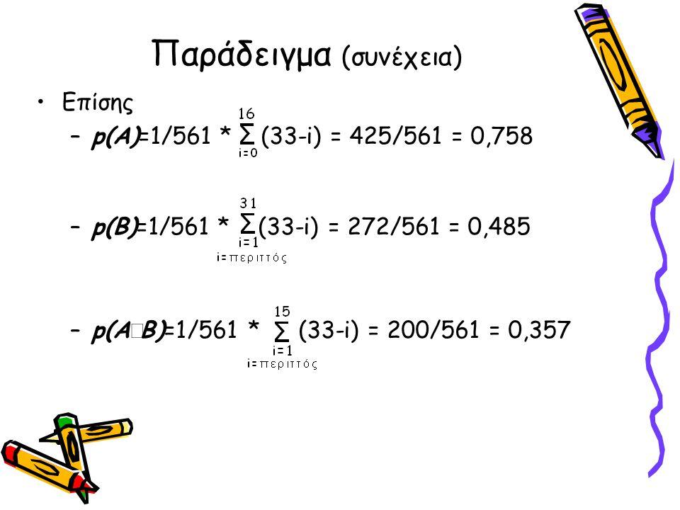 Παράδειγμα (συνέχεια) •Επίσης –p(A)=1/561 * (33-i) = 425/561 = 0,758 –p(B)=1/561 * (33-i) = 272/561 = 0,485 –p(Α  Β)=1/561 * (33-i) = 200/561 = 0,357
