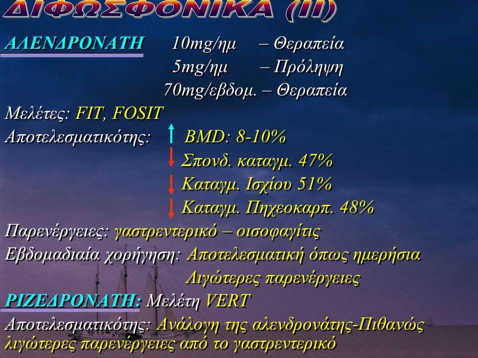 ΑΛΕΝΔΡΟΝΑΤΗ 10mg/ημ – Θεραπεία 5mg/ημ – Πρόληψη 70mg/εβδομ. – Θεραπεία Μελέτες: FIT, FOSIT Αποτελεσματικότης: BMD: 8-10% Σπονδ. καταγμ. 47% Καταγμ. Ισ