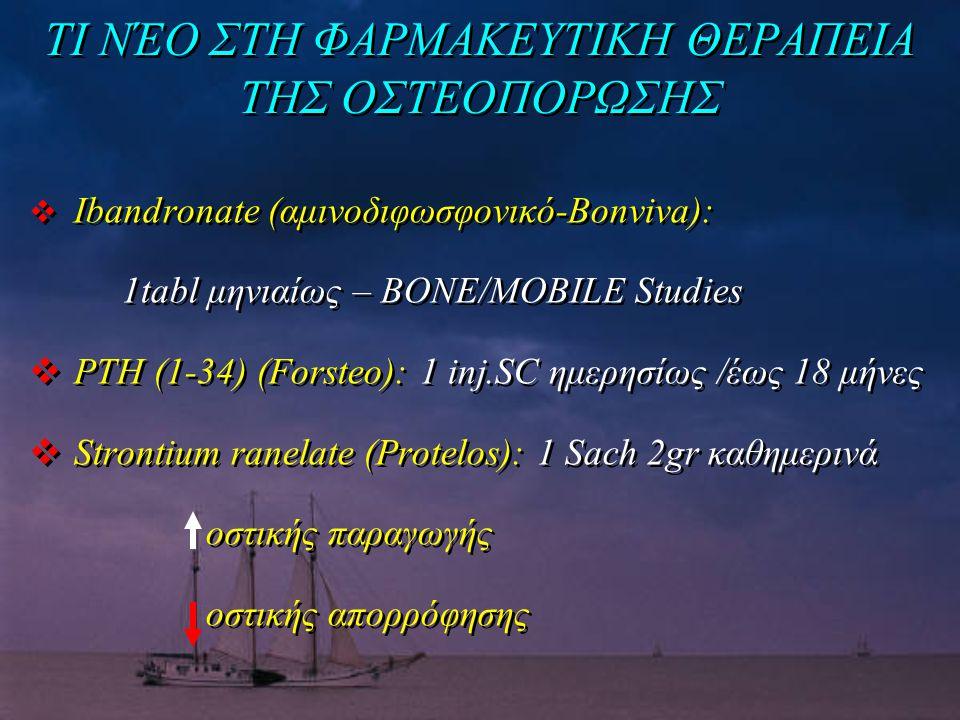 ΤΙ ΝΈΟ ΣΤΗ ΦΑΡΜΑΚΕΥΤΙΚΗ ΘΕΡΑΠΕΙΑ ΤΗΣ ΟΣΤΕΟΠΟΡΩΣΗΣ  Ibandronate (αμινοδιφωσφονικό-Bonviva): 1tabl μηνιαίως – BONE/MOBILE Studies  PTH (1-34) (Forsteo