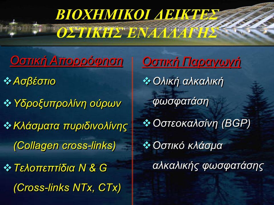 ΒΙΟΧΗΜΙΚΟΙ ΔΕΙΚΤΕΣ ΟΣΤΙΚΗΣ ΕΝΑΛΛΑΓΗΣ  Ασβέστιο  Υδροξυπρολίνη ούρων  Κλάσματα πυριδινολίνης (Collagen cross-links)  Τελοπεπτίδια Ν & G (Cross-link