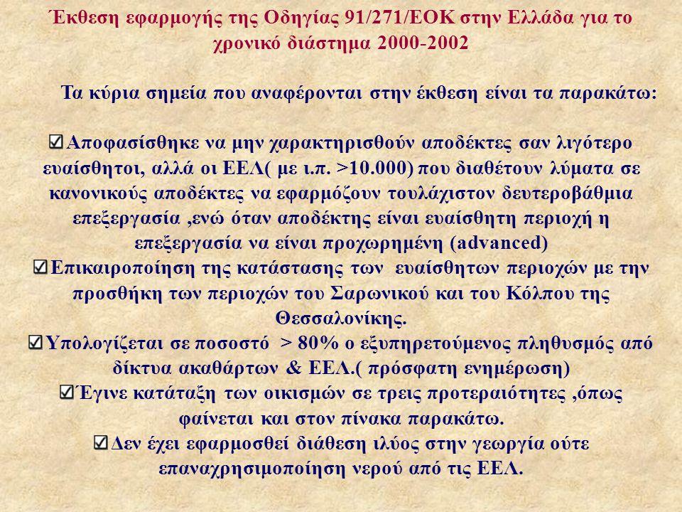 Έκθεση εφαρμογής της Οδηγίας 91/271/ΕΟΚ στην Ελλάδα για το χρονικό διάστημα 2000-2002 Τα κύρια σημεία που αναφέρονται στην έκθεση είναι τα παρακάτω: Αποφασίσθηκε να μην χαρακτηρισθούν αποδέκτες σαν λιγότερο ευαίσθητοι, αλλά οι ΕΕΛ( με ι.π.