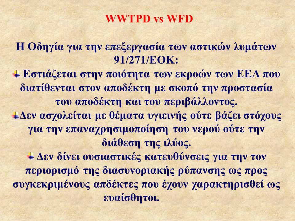 WWTPD vs WFD Η Οδηγία για την επεξεργασία των αστικών λυμάτων 91/271/ΕΟΚ: Εστιάζεται στην ποιότητα των εκροών των ΕΕΛ που διατίθενται στον αποδέκτη με σκοπό την προστασία του αποδέκτη και του περιβάλλοντος.