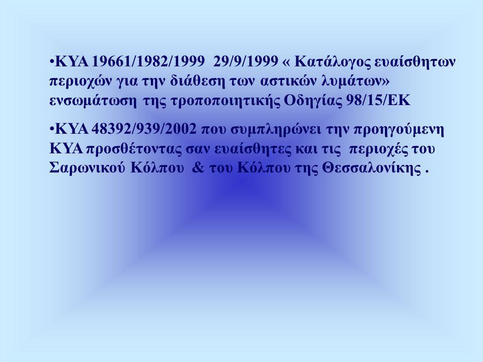 •ΚΥΑ 19661/1982/1999 29/9/1999 « Κατάλογος ευαίσθητων περιοχών για την διάθεση των αστικών λυμάτων» ενσωμάτωση της τροποποιητικής Οδηγίας 98/15/ΕΚ •ΚΥΑ 48392/939/2002 που συμπληρώνει την προηγούμενη ΚΥΑ προσθέτοντας σαν ευαίσθητες και τις περιοχές του Σαρωνικού Κόλπου & του Κόλπου της Θεσσαλονίκης.