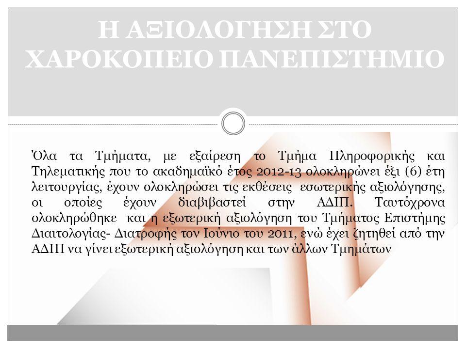 Όλα τα Τμήματα, με εξαίρεση το Τμήμα Πληροφορικής και Τηλεματικής που το ακαδημαϊκό έτος 2012-13 ολοκληρώνει έξι (6) έτη λειτουργίας, έχουν ολοκληρώσει τις εκθέσεις εσωτερικής αξιολόγησης, οι οποίες έχουν διαβιβαστεί στην ΑΔΙΠ.