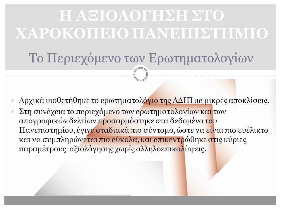 Το Περιεχόμενο των Ερωτηματολογίων  Αρχικά υιοθετήθηκε το ερωτηματολόγιο της ΑΔΙΠ με μικρές αποκλίσεις.
