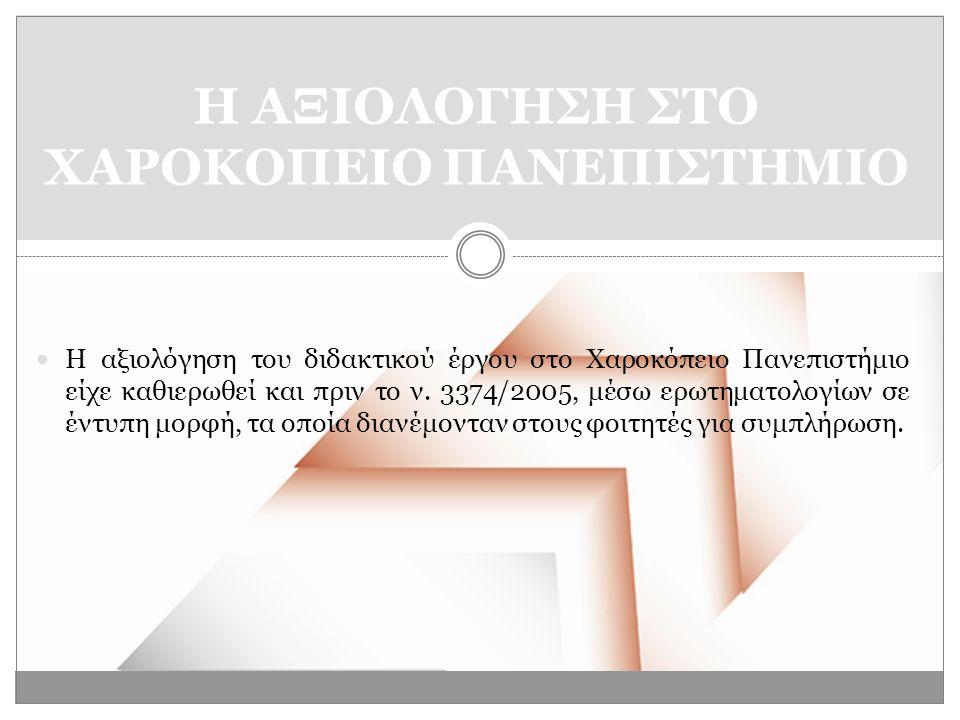  Η αξιολόγηση του διδακτικού έργου στο Χαροκόπειο Πανεπιστήμιο είχε καθιερωθεί και πριν το ν.