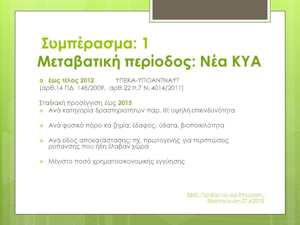 Συμπέρασμα: 1 Μεταβατική περίοδος: Νέα ΚΥΑ  έως τέλος 2012 ΥΠΕΚΑ-ΥΠΟΑΝΤΝΑΥΤ (αρθ.14 ΠΔ 148/2009, αρθ.22 π.7 Ν.