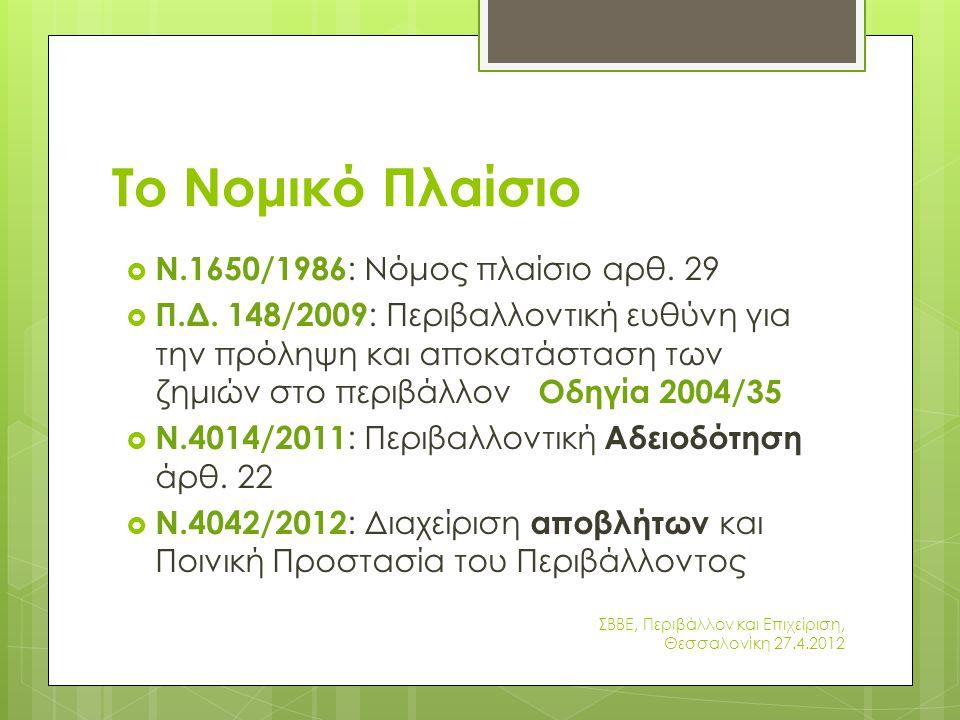 Ποιά ρύπανση:  διασπορά  απελευθέρωση  διαρροή στερεού, υγρού ή αέριου στοιχείου το οποίο μπορεί να ρυπάνει: έδαφος, ατμόσφαιρα, ύδατα εντός ή εκτός των εγκαταστάσεων του ασφαλισμένου ΣΒΒΕ, Περιβάλλον και Επιχείριση, Θεσσαλονίκη 27.4.2012