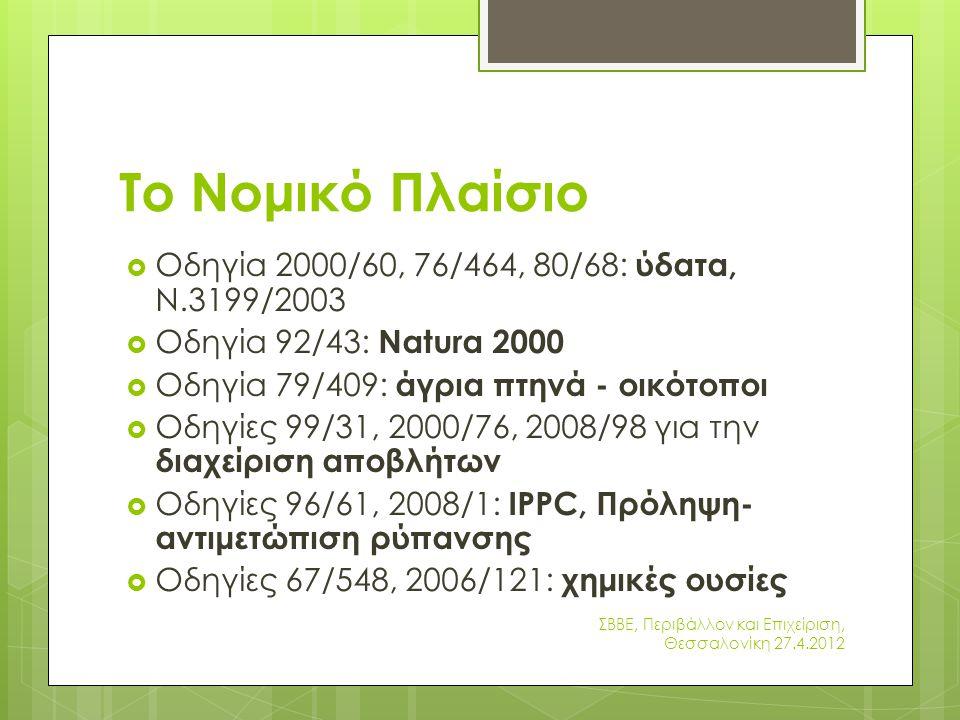 Το Νομικό Πλαίσιο  Οδηγία 2000/60, 76/464, 80/68: ύδατα, Ν.3199/2003  Οδηγία 92/43: Natura 2000  Οδηγία 79/409: άγρια πτηνά - οικότοποι  Οδηγίες 99/31, 2000/76, 2008/98 για την διαχείριση αποβλήτων  Οδηγίες 96/61, 2008/1: IPPC, Πρόληψη- αντιμετώπιση ρύπανσης  Οδηγίες 67/548, 2006/121: χημικές ουσίες ΣΒΒΕ, Περιβάλλον και Επιχείριση, Θεσσαλονίκη 27.4.2012