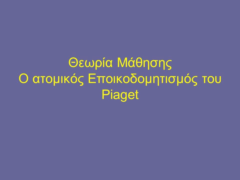 Θεωρία Μάθησης Ο ατομικός Εποικοδομητισμός του Piaget