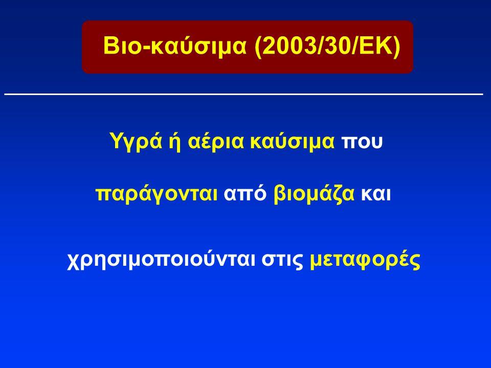 Βιο-καύσιμα (2003/30/ΕΚ) Υγρά ή αέρια καύσιμα που παράγονται από βιομάζα και χρησιμοποιούνται στις μεταφορές