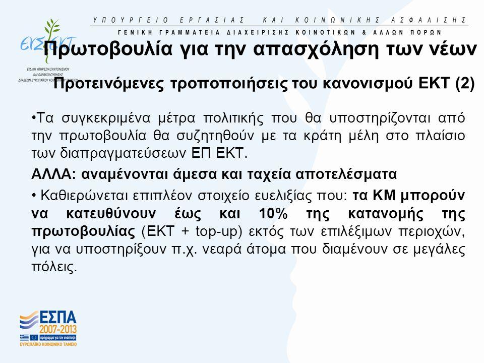 Πρωτοβουλία για την απασχόληση των νέων Προτεινόμενες τροποποιήσεις του κανονισμού ΕΚΤ (2) •Τα συγκεκριμένα μέτρα πολιτικής που θα υποστηρίζονται από την πρωτοβουλία θα συζητηθούν με τα κράτη μέλη στο πλαίσιο των διαπραγματεύσεων ΕΠ ΕΚΤ.