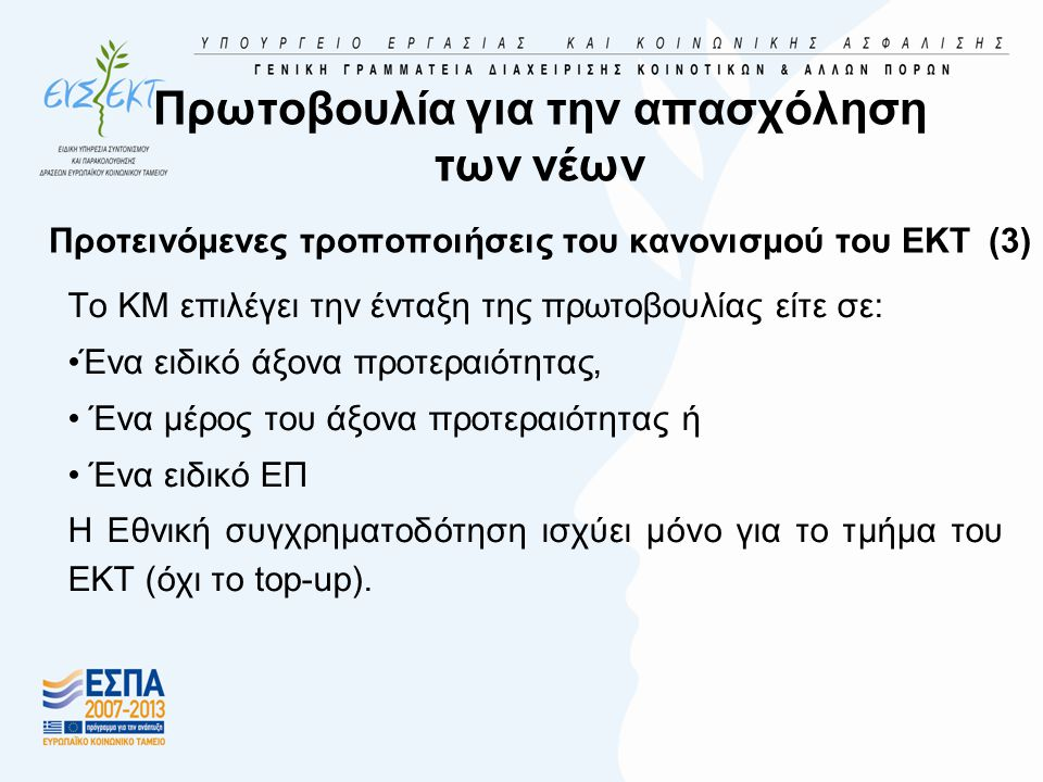 Πρωτοβουλία για την απασχόληση των νέων Προτεινόμενες τροποποιήσεις του κανονισμού του ΕΚΤ (3) Το ΚΜ επιλέγει την ένταξη της πρωτοβουλίας είτε σε: •Ένα ειδικό άξονα προτεραιότητας, • Ένα μέρος του άξονα προτεραιότητας ή • Ένα ειδικό ΕΠ Η Εθνική συγχρηματοδότηση ισχύει μόνο για το τμήμα του ΕΚΤ (όχι το top-up).