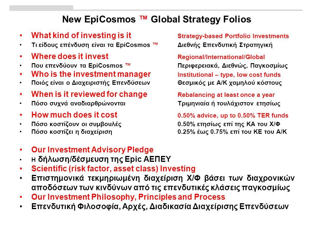 New EpiCosmos ™ Global Strategy Folios •What kind of investing is it Strategy-based Portfolio Investments •Τι είδους επένδυση είναι τα EpiCosmos ™ Διεθνής Επενδυτική Στρατηγική •Where does it invest Regional/International/Global •Που επενδύουν τα EpiCosmos ™ Περιφερειακά, Διεθνώς, Παγκοσμίως •Who is the investment manager Institutional – type, low cost funds •Ποιός είναι ο Διαχειριστής ΕπενδύσεωνΘεσμικός με Α/Κ χαμηλού κόστους •When is it reviewed for change Rebalancing at least once a year •Πόσο συχνά αναδιαρθρώνονταιΤριμηνιαία ή τουλάχιστον ετησίως •How much does it cost 0.50% advice, up to 0.50% TER funds •Πόσο κοστίζουν οι συμβουλές 0.50% ετησίως επί της ΚΑ του Χ/Φ •Πόσο κοστίζει η διαχείριση0.25% έως 0.75% επί του ΚΕ του Α/Κ •Our Investment Advisory Pledge •Η δήλωση/δέσμευση της Epic ΑΕΠΕΥ •Scientific (risk factor, asset class) Investing •Επιστημονικά τεκμηριωμένη διαχείριση Χ/Φ βάσει των διαχρονικών αποδόσεων των κινδύνων από τις επενδυτικές κλάσεις παγκοσμίως •Our Investment Philosophy, Principles and Process •Επενδυτική Φιλοσοφία, Αρχές, Διαδικασία Διαχείρισης Επενδύσεων