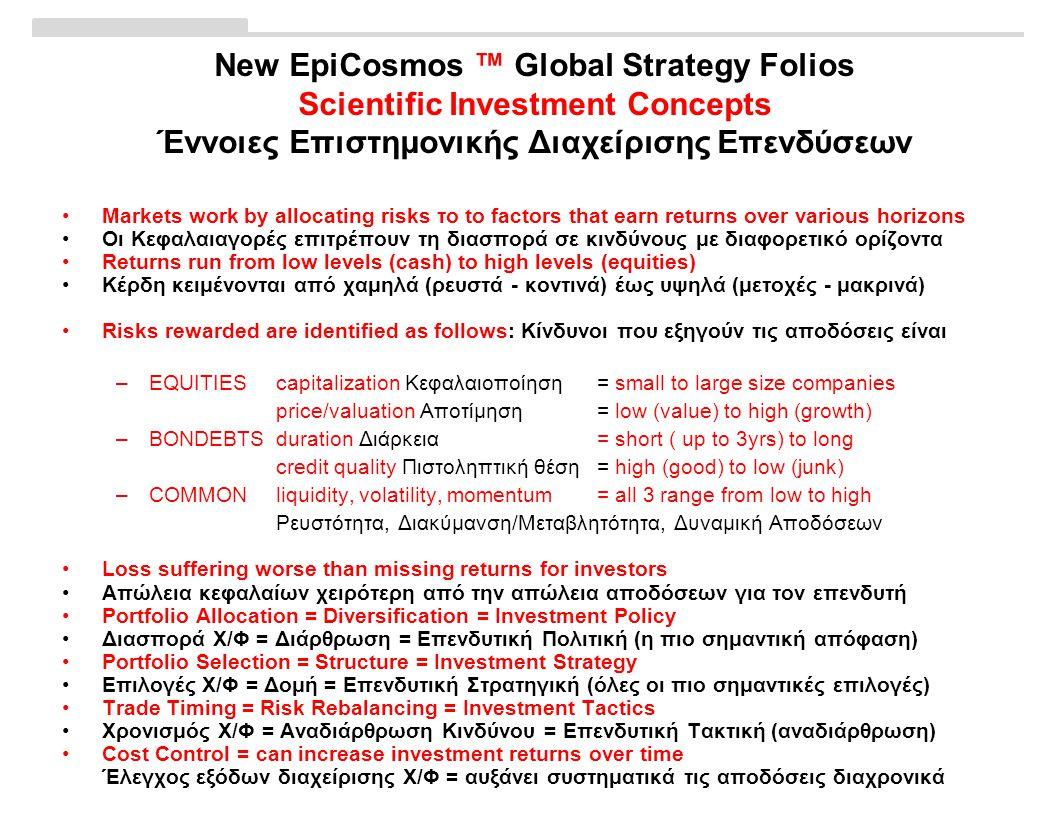 New EpiCosmos ™ Global Strategy Folios Scientific Investment Concepts Έννοιες Επιστημονικής Διαχείρισης Επενδύσεων •Markets work by allocating risks το to factors that earn returns over various horizons •Οι Κεφαλαιαγορές επιτρέπουν τη διασπορά σε κινδύνους με διαφορετικό ορίζοντα •Returns run from low levels (cash) to high levels (equities) •Κέρδη κειμένονται από χαμηλά (ρευστά - κοντινά) έως υψηλά (μετοχές - μακρινά) •Risks rewarded are identified as follows: Κίνδυνοι που εξηγούν τις αποδόσεις είναι –EQUITIEScapitalization Κεφαλαιοποίηση= small to large size companies price/valuation Αποτίμηση= low (value) to high (growth) –BONDEBTSduration Διάρκεια= short ( up to 3yrs) to long credit quality Πιστοληπτική θέση= high (good) to low (junk) –COMMON liquidity, volatility, momentum= all 3 range from low to high Ρευστότητα, Διακύμανση/Μεταβλητότητα, Δυναμική Αποδόσεων •Loss suffering worse than missing returns for investors •Απώλεια κεφαλαίων χειρότερη από την απώλεια αποδόσεων για τον επενδυτή •Portfolio Allocation = Diversification = Investment Policy •Διασπορά Χ/Φ = Διάρθρωση = Επενδυτική Πολιτική (η πιο σημαντική απόφαση) •Portfolio Selection = Structure = Investment Strategy •Επιλογές Χ/Φ = Δομή = Επενδυτική Στρατηγική (όλες οι πιο σημαντικές επιλογές) •Trade Timing = Risk Rebalancing = Investment Tactics •Χρονισμός Χ/Φ = Αναδιάρθρωση Κινδύνου = Επενδυτική Τακτική (αναδιάρθρωση) •Cost Control = can increase investment returns over time Έλεγχος εξόδων διαχείρισης Χ/Φ = αυξάνει συστηματικά τις αποδόσεις διαχρονικά