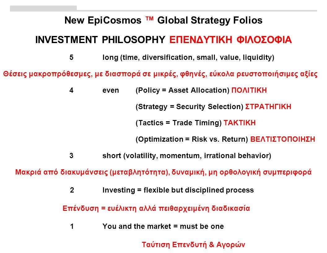 New EpiCosmos ™ Global Strategy Folios INVESTMENT PHILOSOPHY ΕΠΕΝΔΥΤΙΚΗ ΦΙΛΟΣΟΦΙΑ 5long (time, diversification, small, value, liquidity) Θέσεις μακροπρόθεσμες, με διασπορά σε μικρές, φθηνές, εύκολα ρευστοποιήσιμες αξίες 4even (Policy = Asset Allocation) ΠΟΛΙΤΙΚΗ (Strategy = Security Selection) ΣΤΡΑΤΗΓΙΚΗ (Tactics = Trade Timing) ΤΑΚΤΙΚΗ (Optimization = Risk vs.