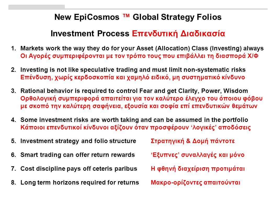 New EpiCosmos ™ Global Strategy Folios Investment Process Επενδυτική Διαδικασία 1.Markets work the way they do for your Asset (Allocation) Class (Investing) always Οι Αγορές συμπεριφέρονται με τον τρόπο τους που επιβάλλει τη διασπορά Χ/Φ 2.Investing is not like speculative trading and must limit non-systematic risks Επένδυση, χωρίς κερδοσκοπία και χαμηλό ειδικό, μη συστηματικό κίνδυνο 3.Rational behavior is required to control Fear and get Clarity, Power, Wisdom Ορθολογική συμπεριφορά απαιτείται για τον καλύτερο έλεγχο του όποιου φόβου με σκοπό την καλύτερη σαφήνεια, εξουσία και σοφία επί επενδυτικών θεμάτων 4.Some investment risks are worth taking and can be assumed in the portfolio Κάποιοι επενδυτικοί κίνδυνοι αξίζουν όταν προσφέρουν 'λογικές' αποδόσεις 5.Investment strategy and folio structure Στρατηγική & Δομή πάντοτε 6.Smart trading can offer return rewards'Εξυπνες' συναλλαγές και μόνο 7.Cost discipline pays off ceteris paribusΗ φθηνή διαχείριση προτιμάται 8.Long term horizons required for returnsΜακρο-ορίζοντες απαιτούνται