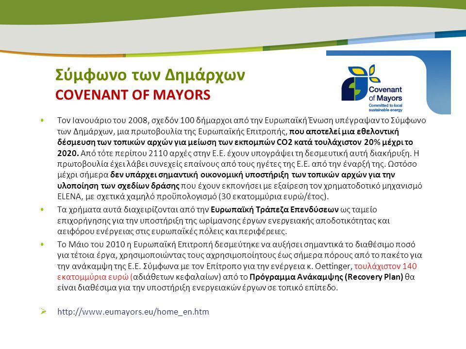Σύμφωνο των Δημάρχων COVENANT OF MAYORS •Τον Ιανουάριο του 2008, σχεδόν 100 δήμαρχοι από την Ευρωπαϊκή Ένωση υπέγραψαν το Σύμφωνο των Δημάρχων, μια πρ