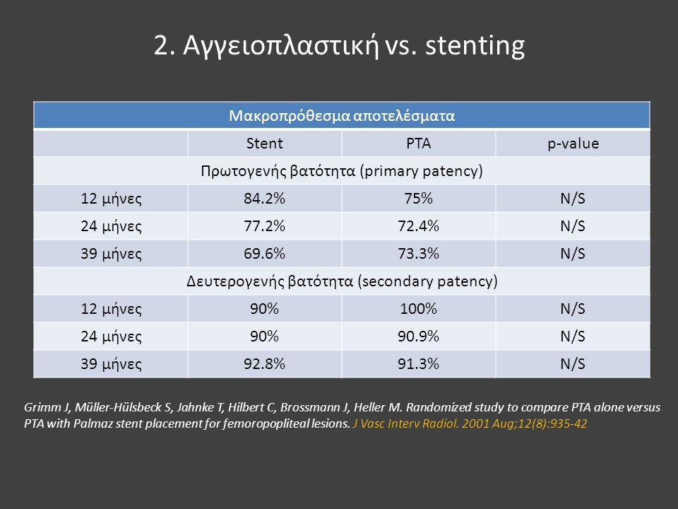 2. Αγγειοπλαστική vs. stenting Μακροπρόθεσμα αποτελέσματα StentPTAp-value Πρωτογενής βατότητα (primary patency) 12 μήνες84.2%75%N/S 24 μήνες77.2%72.4%