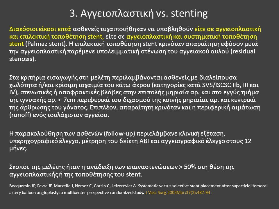 3. Αγγειοπλαστική vs. stenting Διακόσιοι είκοσι επτά ασθενείς τυχαιποιήθηκαν να υποβληθούν είτε σε αγγειοπλαστική και επιλεκτική τοποθέτηση stent, είτ