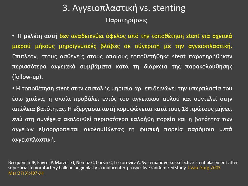 3. Αγγειοπλαστική vs. stenting • Η μελέτη αυτή δεν αναδεικνύει όφελος από την τοποθέτηση stent για σχετικά μικρού μήκους μηροϊγνυακές βλάβες σε σύγκρι