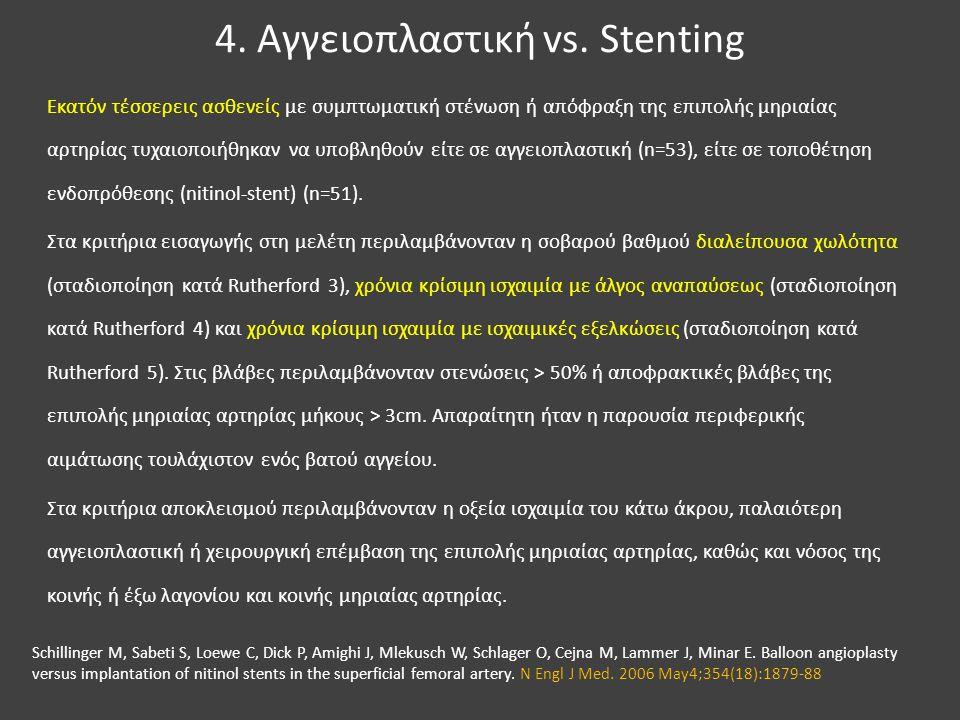 4. Αγγειοπλαστική vs. Stenting Εκατόν τέσσερεις ασθενείς με συμπτωματική στένωση ή απόφραξη της επιπολής μηριαίας αρτηρίας τυχαιοποιήθηκαν να υποβληθο
