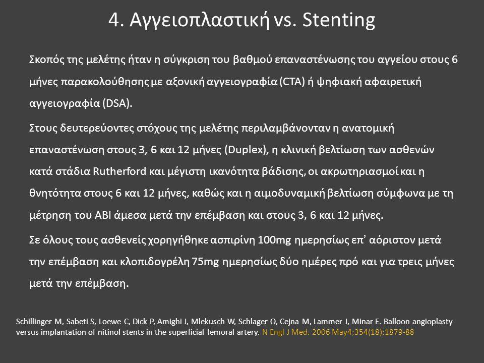 4. Αγγειοπλαστική vs. Stenting Σκοπός της μελέτης ήταν η σύγκριση του βαθμού επαναστένωσης του αγγείου στους 6 μήνες παρακολούθησης με αξονική αγγειογ