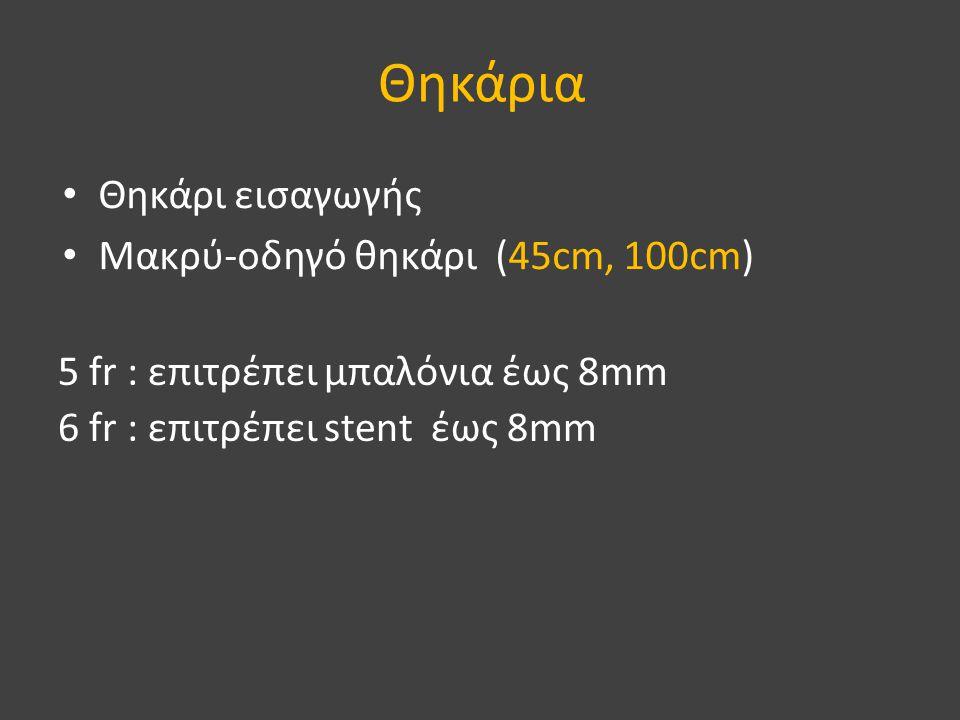 Θηκάρια • Θηκάρι εισαγωγής • Μακρύ-οδηγό θηκάρι (45cm, 100cm) 5 fr : επιτρέπει μπαλόνια έως 8mm 6 fr : επιτρέπει stent έως 8mm