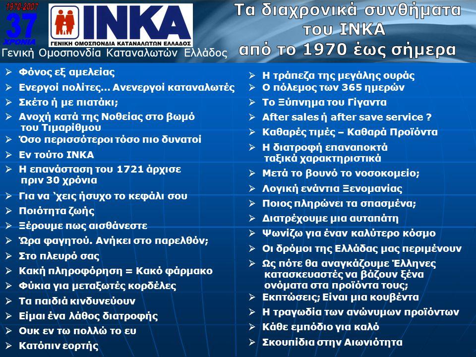 Γενική Ομοσπονδία Καταναλωτών Ελλάδος  Η επανάσταση του 1721 άρχισε πριν 30 χρόνια  Για να 'χεις ήσυχο το κεφάλι σου  Ποιότητα ζωής  Ξέρουμε πως α