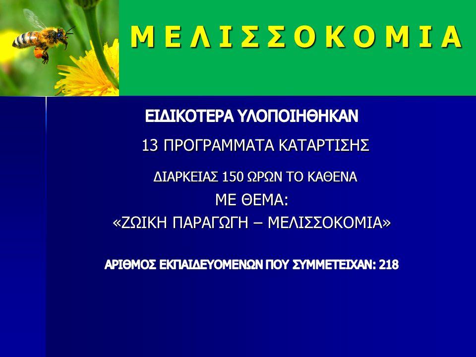 Ο ΟΡΓΑΝΙΣΜΟΣ ΟΓΕΕΚΑ «ΔΗΜΗΤΡΑ» ΕΧΕΙ ΣΥΜΒΑΛΕΙ ΕΝΕΡΓΑ ΣΤΗΝ ΕΚΠΑΙΔΕΥΣΗ – ΕΝΗΜΕΡΩΣΗ ΣΤΟΝ ΤΟΜΕΑ ΤΗΣ ΜΕΛΙΣΣΟΚΟΜΙΑΣ 2005 ΕΩΣ 2008 (1 ο εξάμηνο) ΠΡΑΓΜΑΤΟΠΟΙΗΘΗΚΑΝ 36 ΕΚΠΑΙΔΕΥΣΕΙΣ ΣΕ ΝΕΟΥΣ ΑΓΡΟΤΕΣ M Ε Λ Ι Σ Σ Ο Κ Ο Μ Ι Α