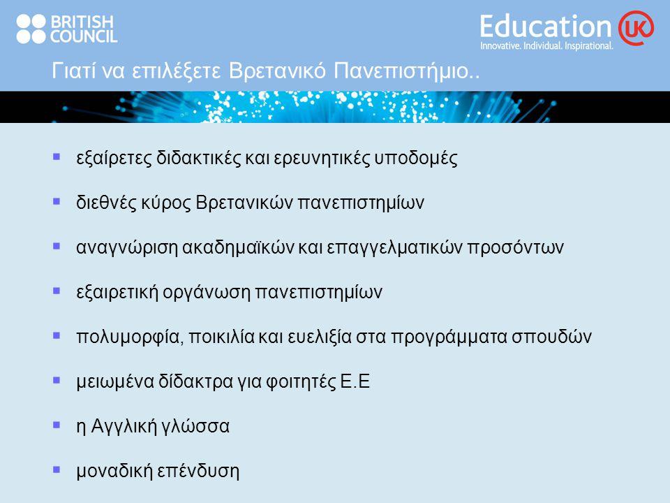 Γιατί να επιλέξετε Βρετανικό Πανεπιστήμιο..  εξαίρετες διδακτικές και ερευνητικές υποδομές  διεθνές κύρος Βρετανικών πανεπιστημίων  αναγνώριση ακαδ