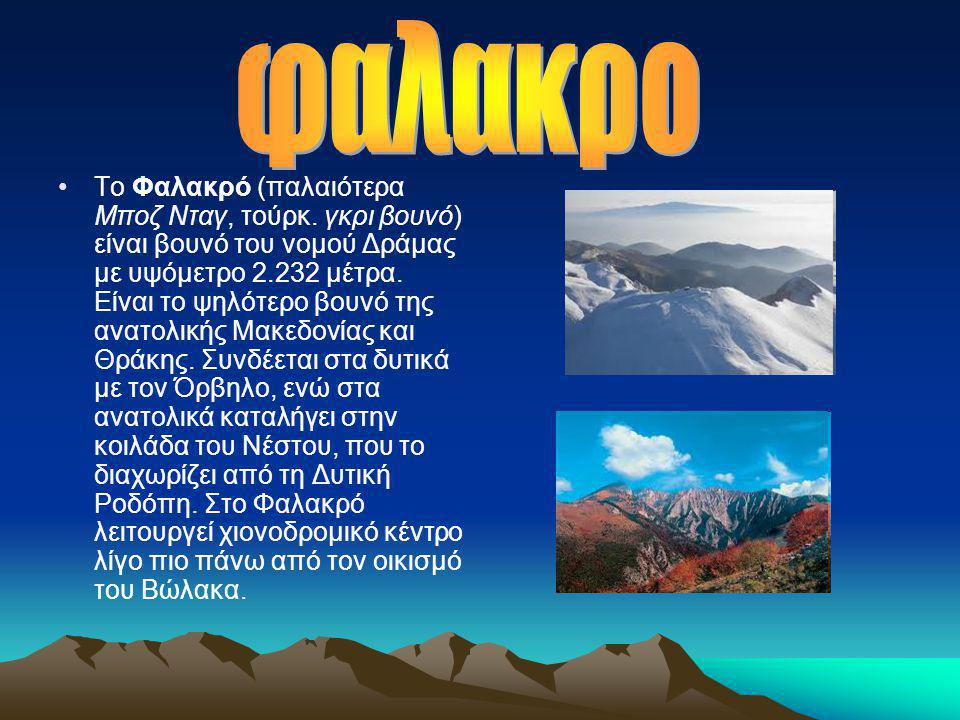 •Το Φαλακρό (παλαιότερα Μποζ Νταγ, τούρκ. γκρι βουνό) είναι βουνό του νομού Δράμας με υψόμετρο 2.232 μέτρα. Είναι το ψηλότερο βουνό της ανατολικής Μακ