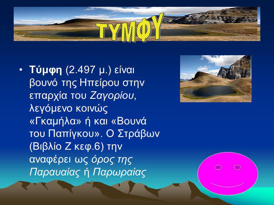 •Τύμφη (2.497 μ.) είναι βουνό της Ηπείρου στην επαρχία του Ζαγορίου, λεγόμενο κοινώς «Γκαμήλα» ή και «Βουνά του Παπίγκου». Ο Στράβων (Βιβλίο Ζ κεφ.6)