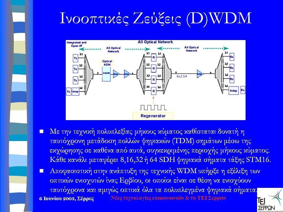 6 Ιουνίου 2003, Σέρρες Νέες τεχνολογίες επικοινωνιών & το ΤΕΙ Σερρών Ινοοπτικές Ζεύξεις (D)WDM  Με την τεχνική π ολυ π λεξίας μήκους κύματος καθίστατ