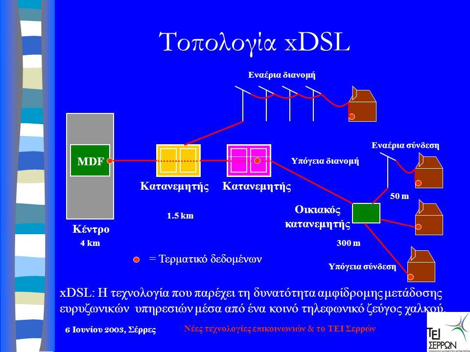 6 Ιουνίου 2003, Σέρρες Νέες τεχνολογίες επικοινωνιών & το ΤΕΙ Σερρών Τοπολογία xDSL Kατανεμητής MDF Κέντρο Οικιακός κατανεμητής Υπόγεια σύνδεση Εναέρι