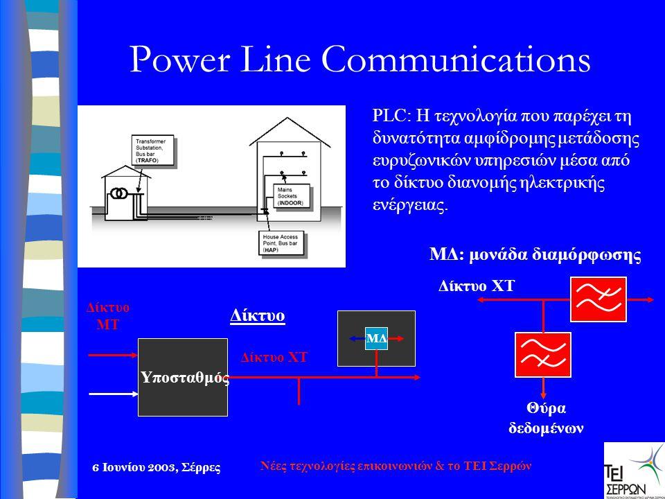6 Ιουνίου 2003, Σέρρες Νέες τεχνολογίες επικοινωνιών & το ΤΕΙ Σερρών Power Line Communications Θύρα δεδομένων Δίκτυο ΧΤ ΜΔ: μονάδα διαμόρφωσης ΜΔ Υποσ