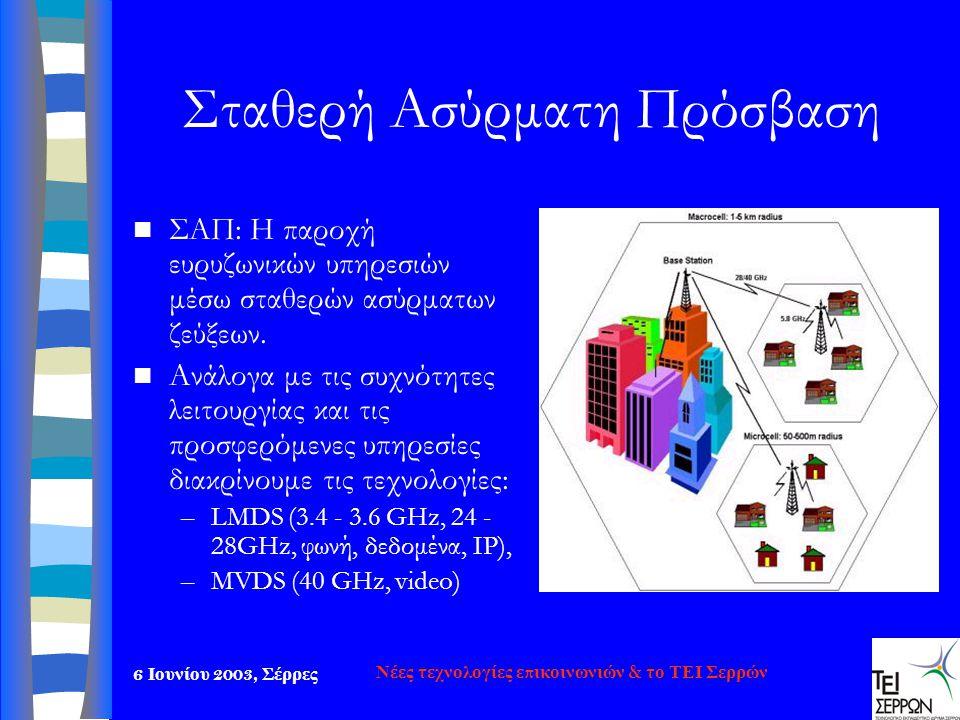 6 Ιουνίου 2003, Σέρρες Νέες τεχνολογίες επικοινωνιών & το ΤΕΙ Σερρών Σταθερή Ασύρματη Πρόσβαση  ΣΑΠ: Η παροχή ευρυζωνικών υπηρεσιών μέσω σταθερών ασύ