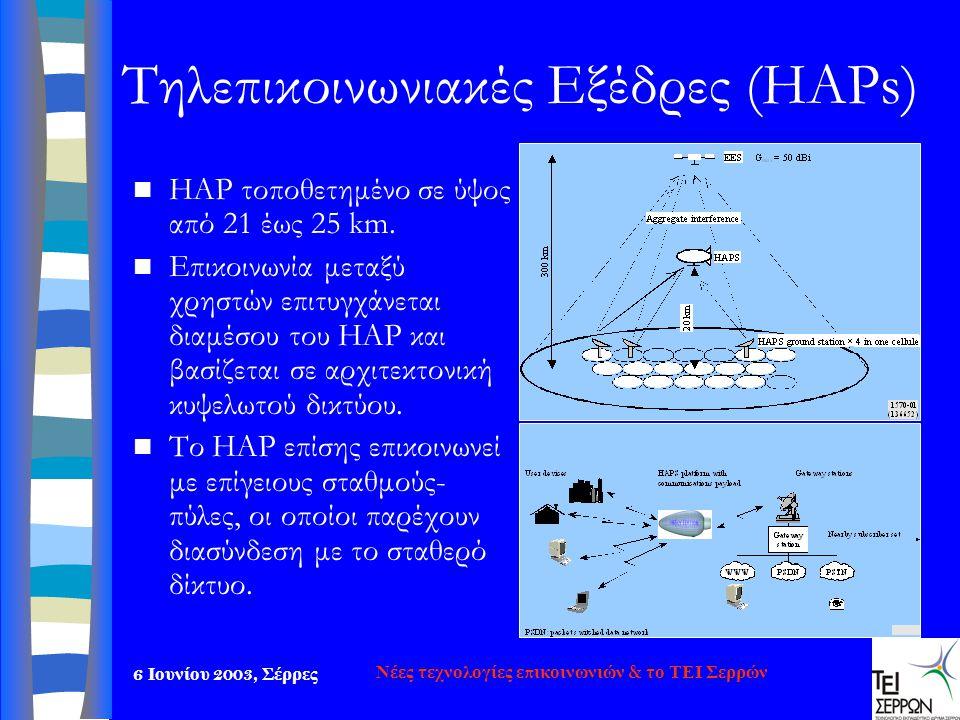 6 Ιουνίου 2003, Σέρρες Νέες τεχνολογίες επικοινωνιών & το ΤΕΙ Σερρών Τηλεπικοινωνιακές Εξέδρες (HAPs)  HAP τοποθετημένο σε ύψος από 21 έως 25 km.  Ε