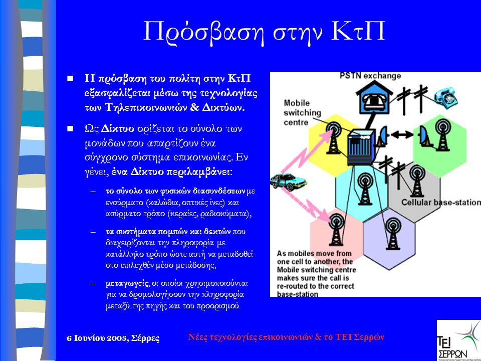 6 Ιουνίου 2003, Σέρρες Νέες τεχνολογίες επικοινωνιών & το ΤΕΙ Σερρών Πρόσβαση στην ΚτΠ  Η πρόσβαση του πολίτη στην ΚτΠ εξασφαλίζεται μέσω της τεχνολο
