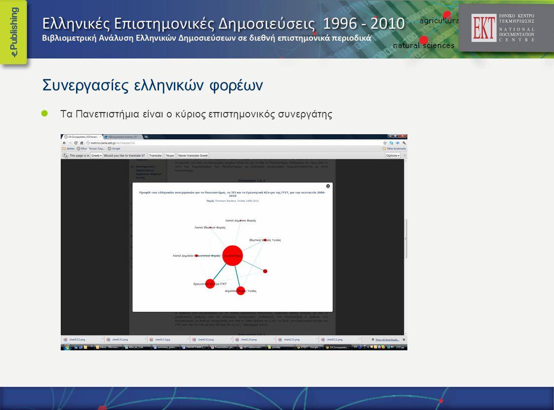 Συνεργασίες ελληνικών φορέων ● Τα Πανεπιστήμια είναι ο κύριος επιστημονικός συνεργάτης