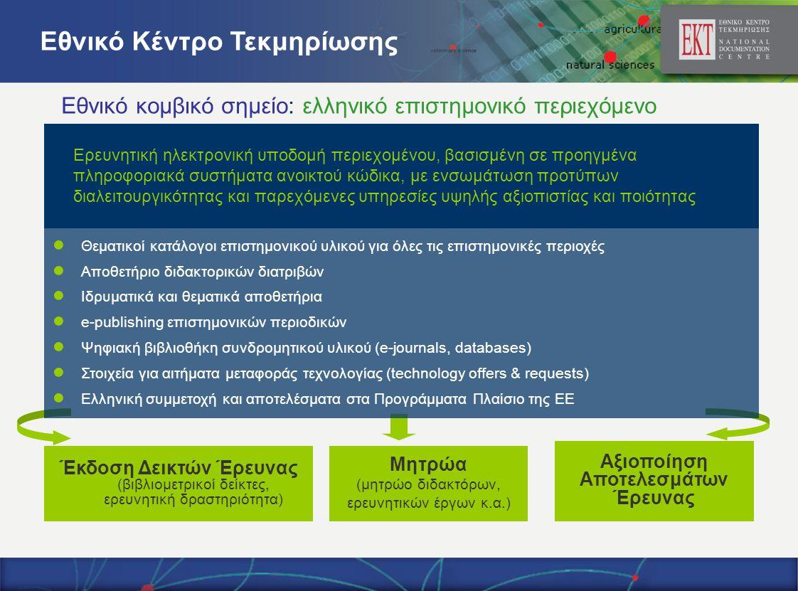 Ερευνητική ηλεκτρονική υποδομή περιεχομένου, βασισμένη σε προηγμένα πληροφοριακά συστήματα ανοικτού κώδικα, με ενσωμάτωση προτύπων διαλειτουργικότητας και παρεχόμενες υπηρεσίες υψηλής αξιοπιστίας και ποιότητας ● Θεματικοί κατάλογοι επιστημονικού υλικού για όλες τις επιστημονικές περιοχές ● Αποθετήριο διδακτορικών διατριβών ● Ιδρυματικά και θεματικά αποθετήρια ● e-publishing επιστημονικών περιοδικών ● Ψηφιακή βιβλιοθήκη συνδρομητικού υλικού (e-journals, databases) ● Στοιχεία για αιτήματα μεταφοράς τεχνολογίας (technology offers & requests) ● Ελληνική συμμετοχή και αποτελέσματα στα Προγράμματα Πλαίσιο της ΕΕ Μητρώα (μητρώο διδακτόρων, ερευνητικών έργων κ.α.) Αξιοποίηση Αποτελεσμάτων Έρευνας Έκδοση Δεικτών Έρευνας (βιβλιομετρικοί δείκτες, ερευνητική δραστηριότητα) Εθνικό Κέντρο Τεκμηρίωσης Εθνικό κομβικό σημείο: ελληνικό επιστημονικό περιεχόμενο